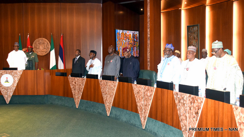 From left: President Muhammadu Buhari; Minister of Justice, Abubakar Malami; Minister of Agriculture, Audu Ogbeh; Minister of State for Agriculture,. Heinekan Lokpobiri; Minister of Budget and National Planning, Udoma Udo Udoma; Minister of Communication, Adebayo Shittu; Minister of Defence, Masur Dan-Ali and Minister of Education, Adamu Adamu, during an emergency Federal Executive Council Meeting at the Presidential Villa in Abuja on Tuesday (9/1/19) 00438/015/01/2019/Callistus Ewelike/JAU/NAN