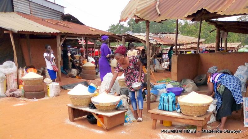 Sayedero market were garri is being sold