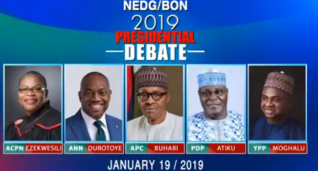 Candidates for the 2019 Presidential Debate [Photo: Channels TV]