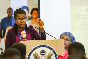 Ms Tanya Hill, US embassy official speaking at the event