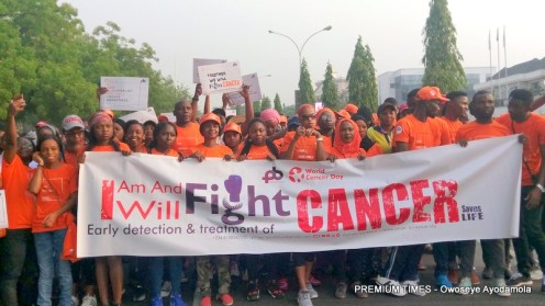 Participants at the cancer awareness march in Abuja
