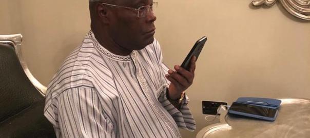 Atiku Abubakar pictured during a phone conversation