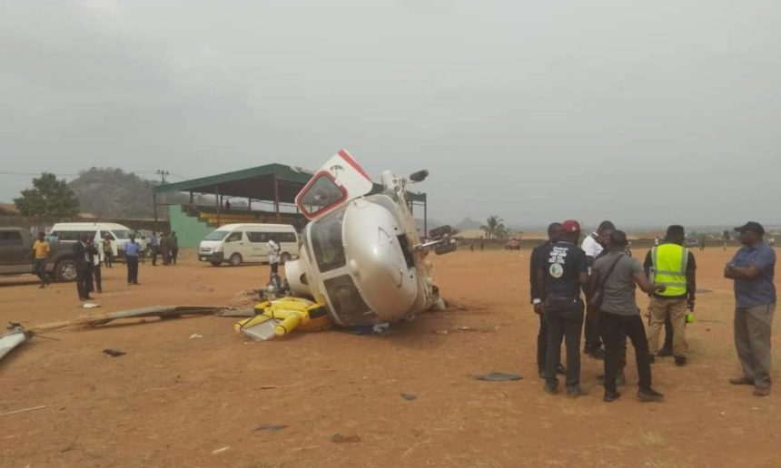 The helicopter of Vice President, Yemi Osinbajo involved in a crash