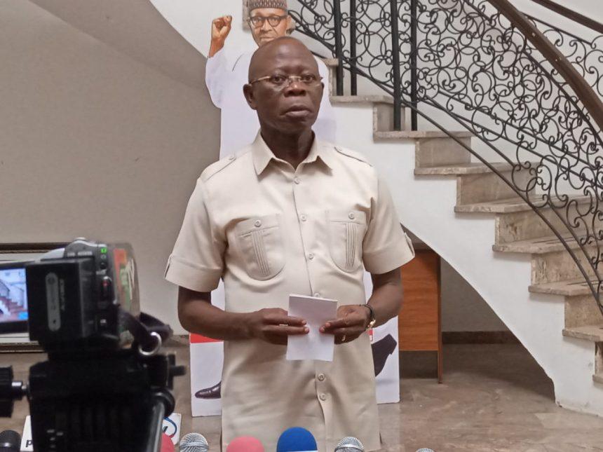 The National Chairman of the All Progressives Congress (APC), Adams Oshiomhole, addressing the press.