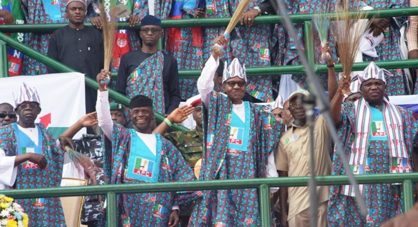 R-L: Lagos State Governor, Mr. Akinwunmi Ambode; National Chairman, All Progressives Congress (APC), Comrade Adams Oshiomhole; President Muhammadu Buhari; Vice President, Prof. Yemi Osinbajo and National Leader, APC, Asiwaju Bola Tinubu during the APC Presidential Campaign at the Teslim Balogun Stadium, Surulere, Lagos, on Saturday, February 9, 2019.