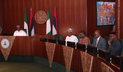 PRESIDENT BUHARI PRESIDES OVER SIGN OF NSEZCOM AND ITS INVESTMENT PARTNERS 1B. L-R; President Muhammadu Buhari, Chairman of Bank of Industry, Alhaji Aliyu Abdulrahman, Executive Director of Nigerian Export Promotion Council, Mr. Segun Awolowo, MD/CEO Eyimba Industry, Dr Darl Uzu during the signing of agreements between Afreximbank, BOI and NSIA with Nigeria Special Economic Zones Investment Company (NSEZCOM) held at the Council Chambers, State House in Abuja. PHOTO; SUNDAY AGHAEZE. FEB 8, 2019