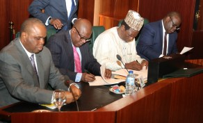 PRESIDENT BUHARI PRESIDES OVER SIGN OF NSECOM AND ITS INESTMENT PARTNERS 2