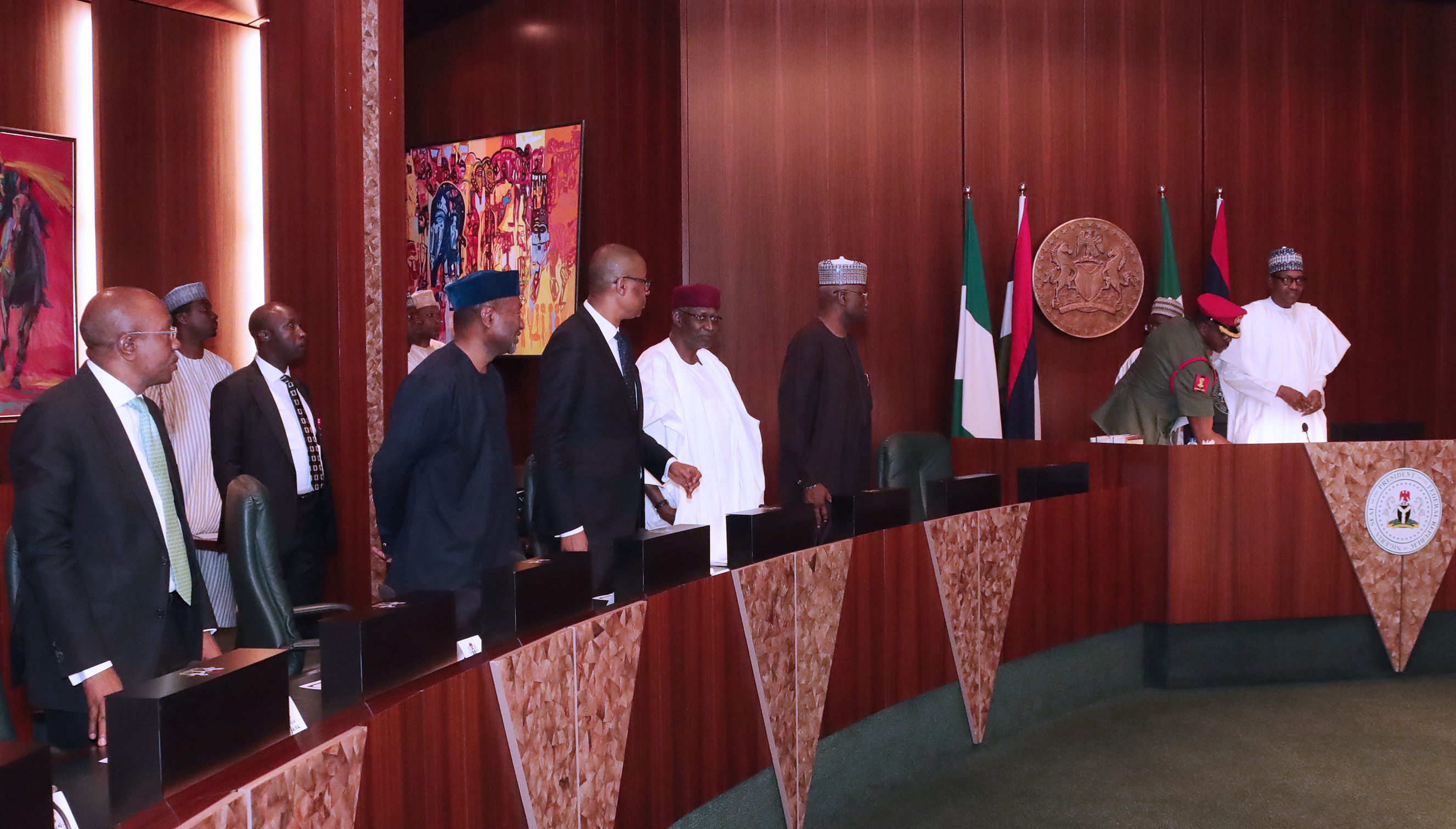 PRESIDENT BUHARI PRESIDES OVER SIGN OF NSECOM AND ITS INESTMENT PARTNERS A