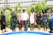 Uganda State Minister for Tourism Mr Godfrey Kiwanda with Ugandan models at the launch of 'Miss Curvy Uganda' at a Kampala hotel on February 5, 2019. PHOTO | GODFREY LUGAAJU | NMG