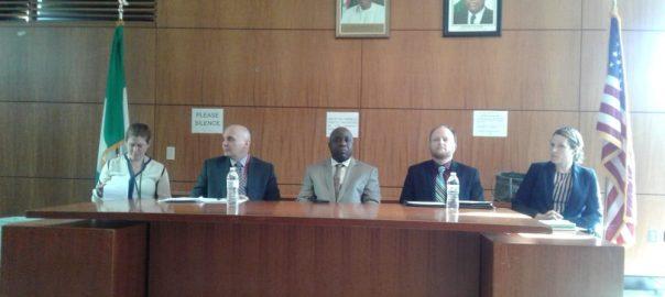 Left to right: Allison Callery, Tobias Glucksman, Ambassador Hassan, Chad Weinberg and Julia Drude