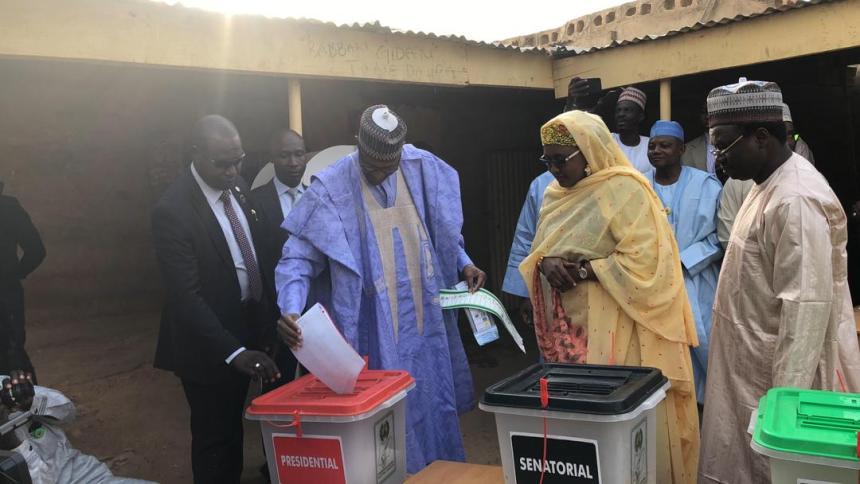 Buhari and Aisha voting
