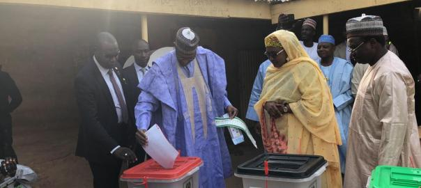 Buhari and Aisha voting