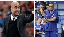 Manchester City coach, Pep Guardiola and Chelsae FC coach, Sarri.