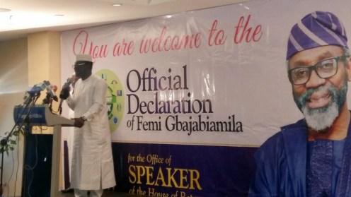 Abdulmumin Jibrin addressing the audience