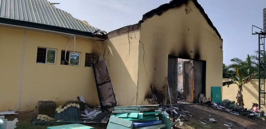 Burnt INEC office at Ibesikpo Asutan LGA, Akwa Ibom Photo by Cletus Ukpong