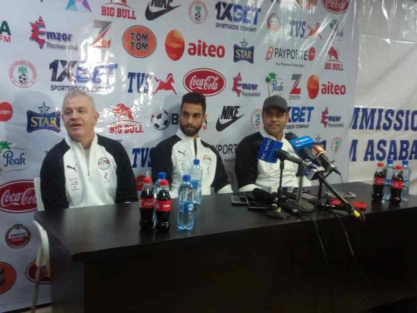 Egyptian National team coach Javier Aguirre speaking in Asaba ahead of the friendly with the Super Eagles (Credit Tunde Eludini Premium Times)