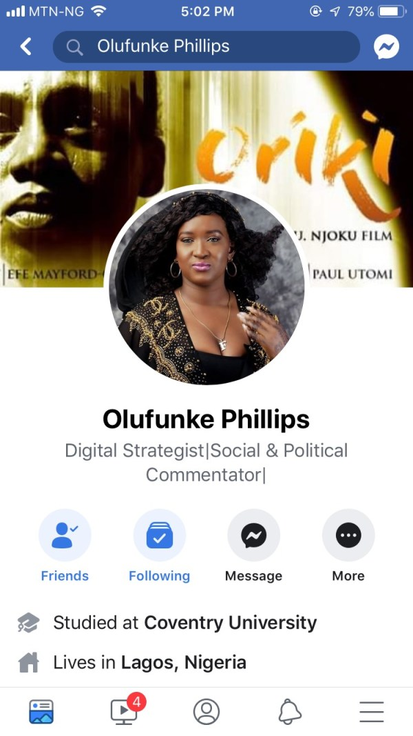 Screenshot of Ms Philips' Facebook page