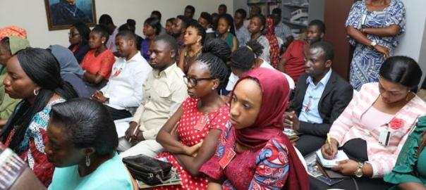 "Participants at The Hunting Ground"", and a panel discussion on ending sexual assault in institutions in Nigeria."