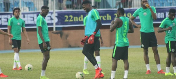 Super Eagles players in their last training session for the game against Seychelles Photo Credit PREMIUM TIMES