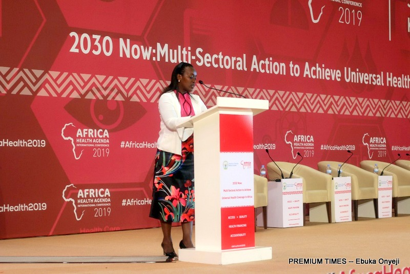 Diane Gashumba, Minister of Health of Rwanda speaking at the opening ceremony of the event on Monday. The ministry is a co-host of the event.