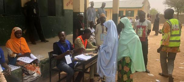Voting in progress at Doka PU 003, Dawa village in Rimin Gado local government area Kano state
