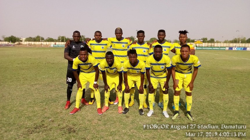 Yobe Desert Stars line up for the game against Gombe United during the first stanza of the league (Credit: Yobe Desert Stars Official Twitter handle)