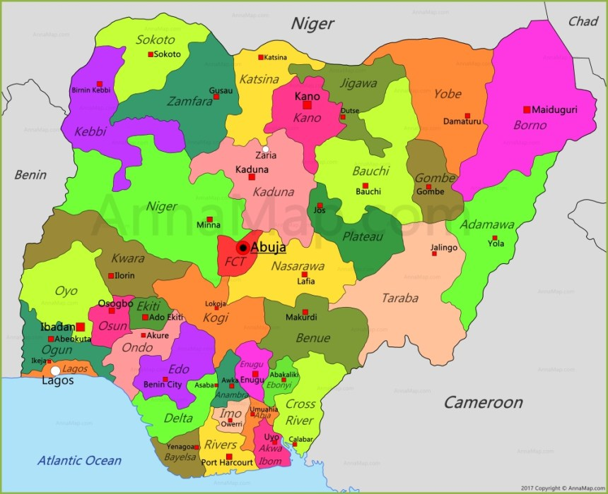 Map of Nigeria showing 36 states and FCT [Photo: World Map]