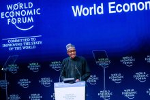 President Muhammadu Buhari delivering a keynote address at the Opening Plenary of the World Economic Forum on the Middle East and North Africa today in Amman Jordan. (Photo Credit: Bashir Ahmad on Twitter)