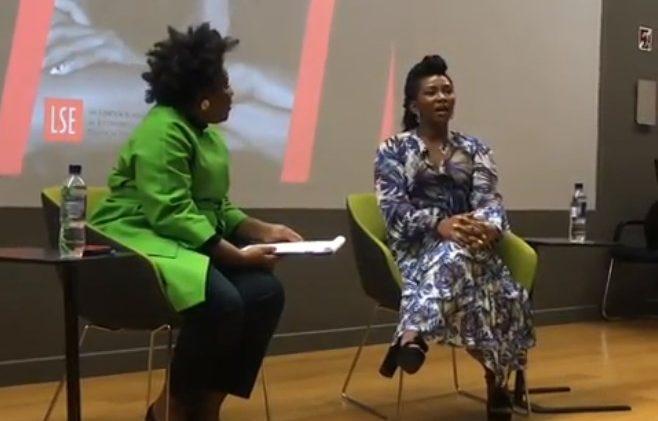 Genevieve Nnaji fielding questions from film curator, Nadia Denton at the gathering on Sunday in London (Photo Genevieve Nnaji Instagram).