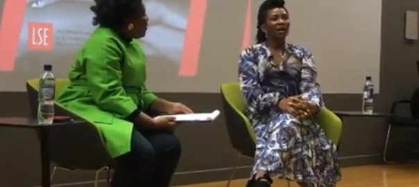 Genevieve Nnaji fielding questions from film curator, Nadia Denton at the gathering on Sunday in London (Photo Genevieve Nnaji Instagram).