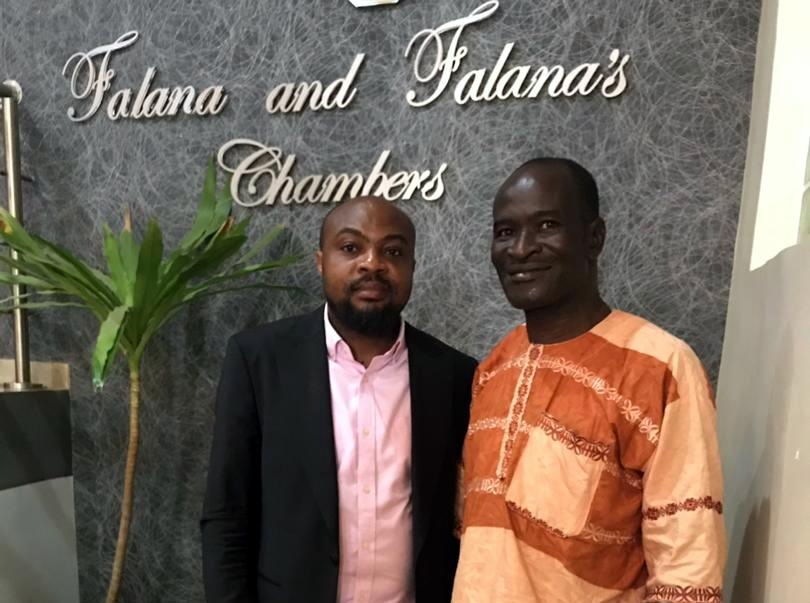 Jones Abiri (right) with his lawyer, Samuel Ogala, shortly after his release by the SSS in Abuja on Monday, April 1, 2019.