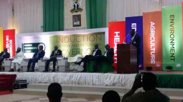 Chairman Zenith bank Jim Ovia speaking on the imperative need for a Digital Nigeria with broadband technology and connectivity for development at the induction of new and returning governors NGF