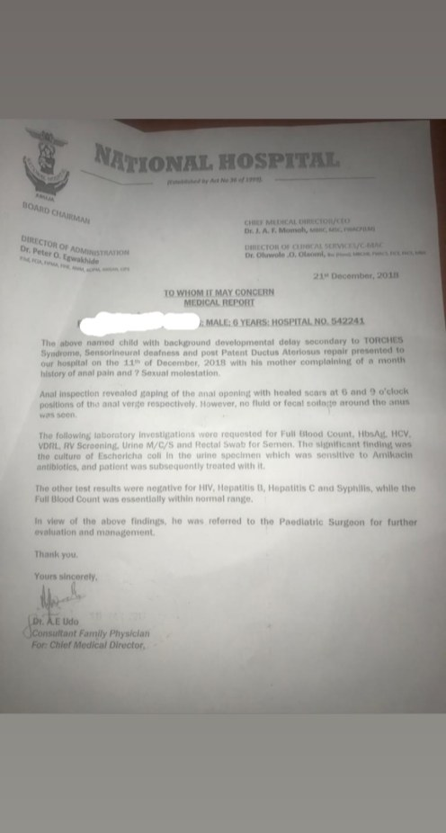 The National Hospital report confirms Mrs Usman's son had been abused. Some officials question the claim. Credit: Azeezat Adedigba