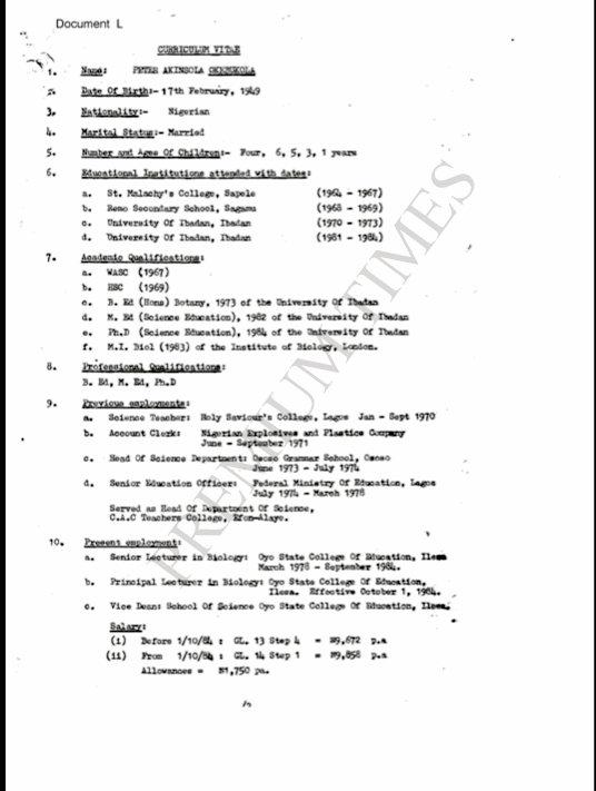 Okebukola's CV showing a 1949 Date of Birth
