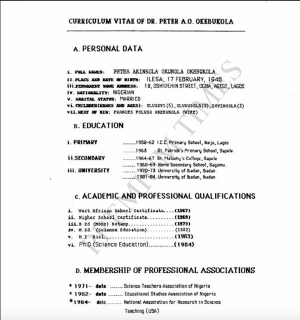 Okebukola's CV with a 1948 Date of Birth