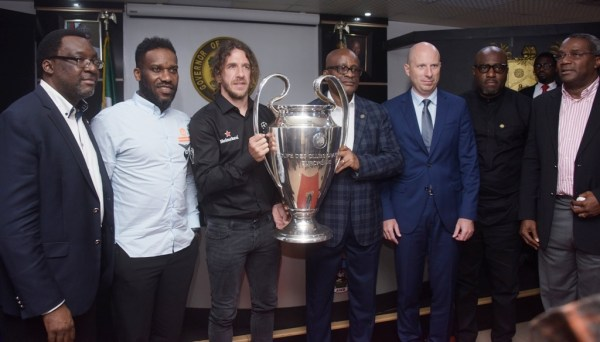 Representative of Lagos State Governor and Chairman, the State Sports Commission (LSSC), Dr. Kweku Tandoh (middle); UEFA Champions League winner and former Barcelona FC Defender, Carles Puyol (3rd left); Ex-Nigeria International, Austin 'JayJay' Okocha (2nd left); Commissioner for Tourism, Arts and Culture, Mr. Steve Ayorinde (left); Managing Director, Nigerian Breweries PLC, Mr. Jordi Borrut Bel (3rd right); Special Adviser to the Governor on Education, Mr. Obafela Bank-Olemoh (2nd right) and Director-General, LSSC, Mr. Babatunde Bank-Anthony (right) during the UEFA Champions League Trophy Tour to the Lagos House, Alausa, Ikeja, on Wednesday, April 17, 2019.