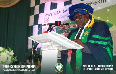 At the event, the Vice-Chancellor of FUOYE, Kayode Soremekun, congratulated the new students and their parents for witnessing such a great occasion.