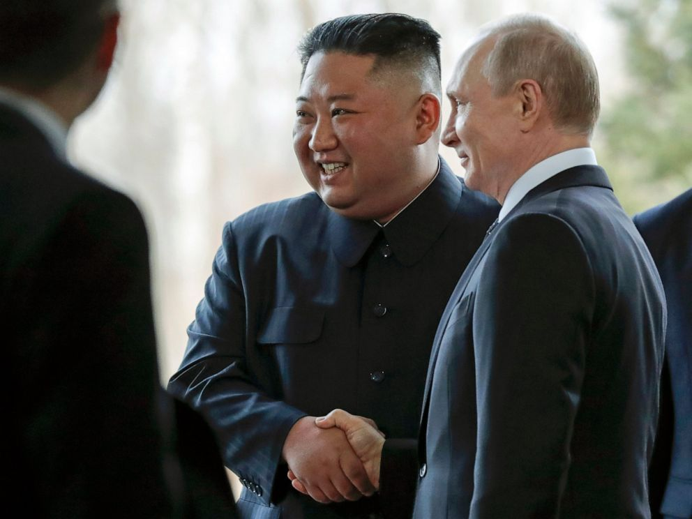 The two men embarked on a day of talks on an island off the Russian Pacific city of Vladivostok.................................