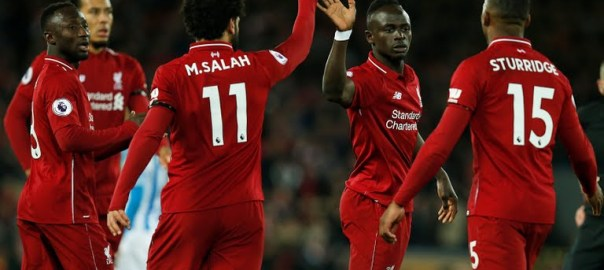 Liverpool Sadio Mane celebrates with Mohamed Salah after scoring the fourth goal (Photo Credit: Reuters)