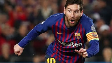Messi celebrates as he scores for Barcelona against Manchester United