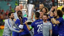 Chelsea players celebrating their win