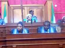 Appeal court president, Zainab Bulkachuwa heading the inaugural session of the presidential tribunal on Wednesday