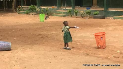 Six-year-old Salome, a nursery one pupilof L.E.A primary school, Damagaza.
