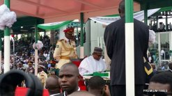 President Muhammadu Buhari and wife as he recites the oath of office for second tern.