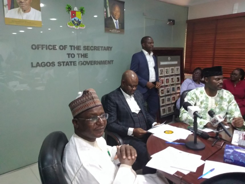 Jide Idris, Lagos state commissioner for health addressing the NIPSS delegation during a meeting on Tuesday.