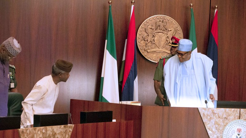 PRESIDENT BUHARI PRESIDES OVER FEC MEETING 0A. President Muhammadu Buhari, Vice President Yemi Osinbajo SAN and SGF Mr. Boss Mustapha during the FEC Meeting at the Council Chamber, State House Abuja. PHOTO; SUNDAY AGHAEZE. MAY 8 2019