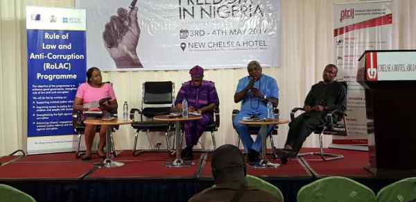 Panelists for the second session. Chioma Agwuegbo (TechHer), Austin Onuoha (ACCR, Owerri), Oke Epia (Order Paper).