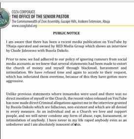 Screenshots of Mr Fatoyinbo's statement