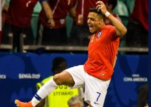 Chile striker, Alexis Sanchez celebrates his goal during Copa America. [PHOTO CREDIT: Twitter handle of Alexis]