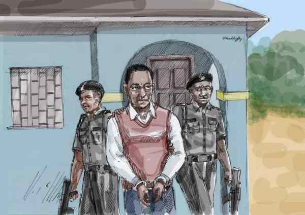 """""""Sketch illustrating the arrest of 34 year old Chris Chom who was detained for nearly two years in the prisons for """"a failed attempt to save his nephew's life"""""""